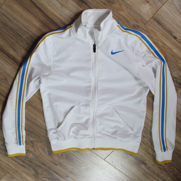 hot sale online d7a0f 13b8a Nike track jacket small white w gold, blue stripes.  M 5b8ebb25819e908ab35ede18